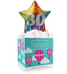 Happy 30th Birthday - Balloon in a Box Gifts - 30th Birthday Balloons - 30th Birthday Balloon Gifts - Balloon in a Box Gift Delivery