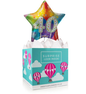 Happy 40th Birthday - Balloon in a Box Gifts - Birthday Balloons - Balloon Gift Delivery - Birthday Balloon Gifts