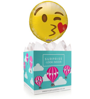 Sending Kisses Your Way - Balloon in a Box Gifts - Emoji Balloons - Balloon Gift Delivery - Balloon Gifts - Emoji Balloon Gifts