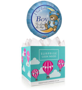 Welcome Baby Boy - Balloon in a Box Gifts - New Baby Boy Balloons - Balloon Gifts - Balloon Gift Delivery